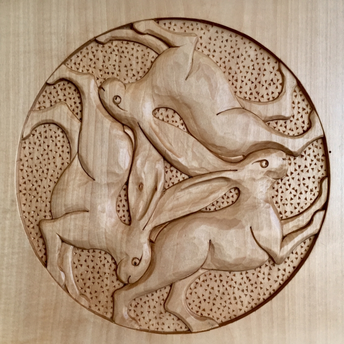 3 Hares. Limewood 10 x 10in (250 x250mm)