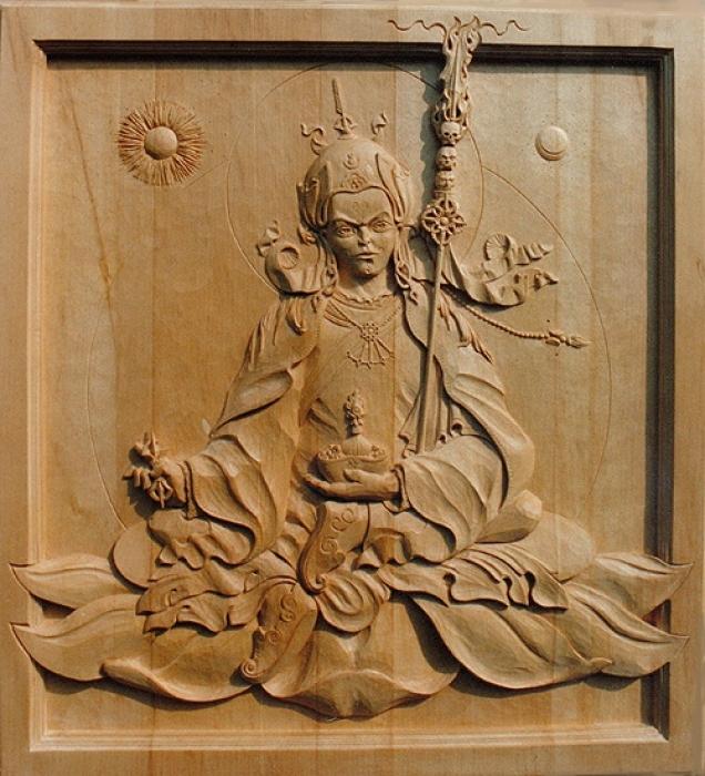 Padmasambhava. Jelutong. H 40 in