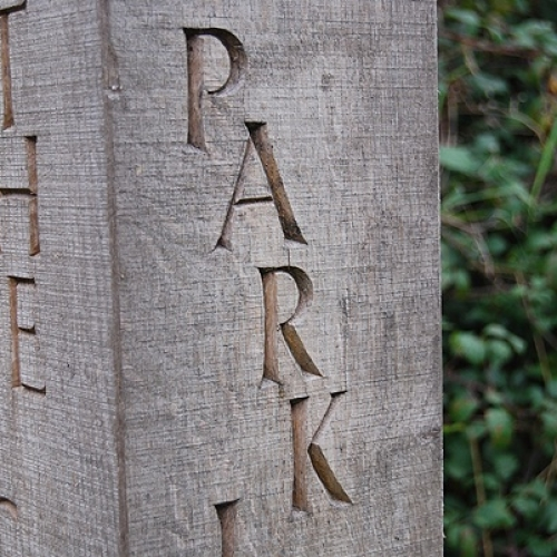 Lettered Post from Kinnersley Art Project. Oak